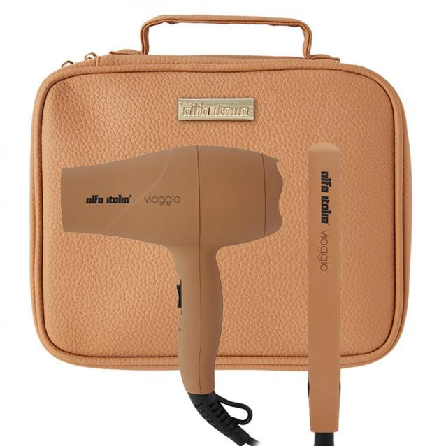 Alfa Italia Viaggio Mini Travel Hair Dryer And Styler Set Tan