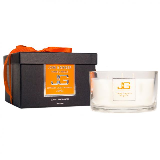 Scented 3 Wick Spa Candle Number 3 With Musk And Patchouli