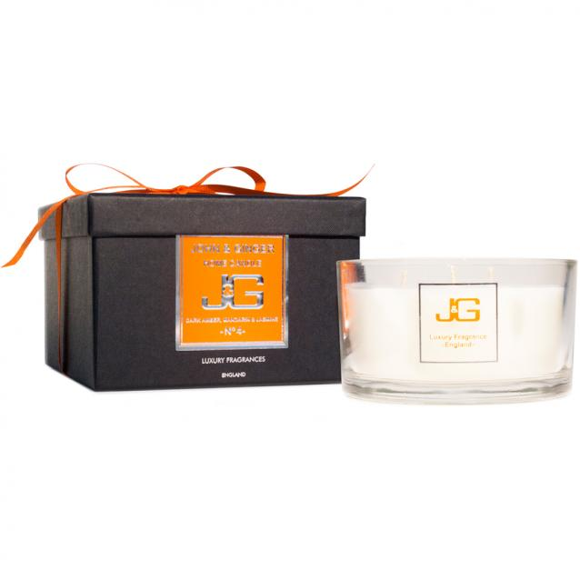 Scented 3 Wick Spa Candle Number 4 With Amber And Jasmine