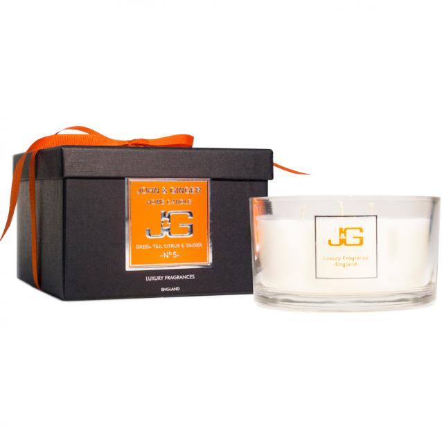 Scented 3 Wick Spa Candle Number 5 With Green Tea And Citrus