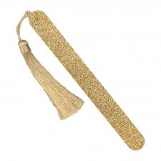 Kure Bazaar Gold Glitter Nail File With Gold Pompom